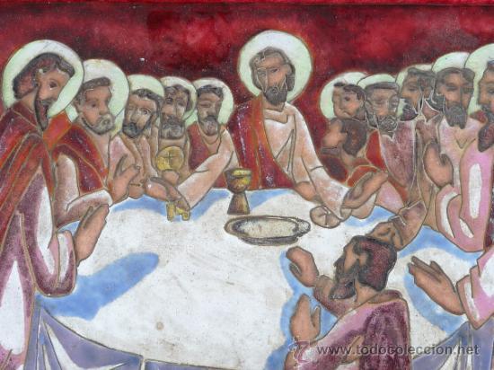 Arte: Antigua placa esmaltada de la Santa Cena. - Foto 2 - 37436716