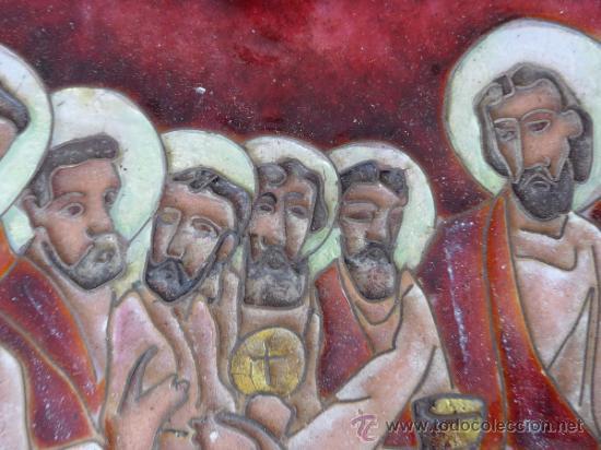 Arte: Antigua placa esmaltada de la Santa Cena. - Foto 3 - 37436716