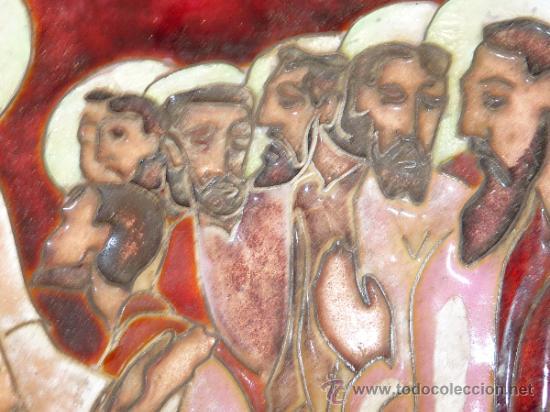 Arte: Antigua placa esmaltada de la Santa Cena. - Foto 4 - 37436716
