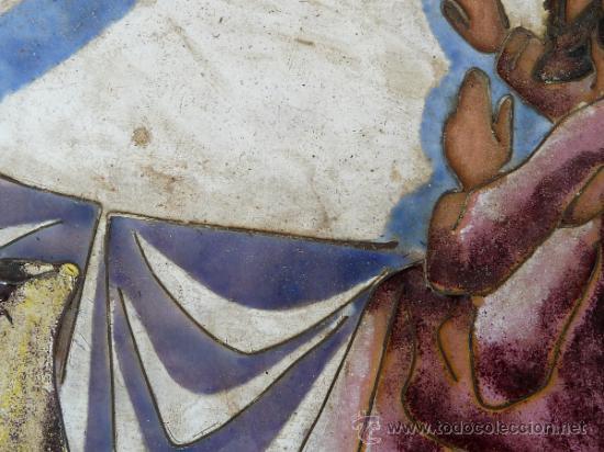 Arte: Antigua placa esmaltada de la Santa Cena. - Foto 5 - 37436716