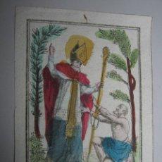Arte: SIGLO XVIII - GRABADO ILUMINADO - SAN AUBIN EVEQUE D'ANGERS. Lote 37397513