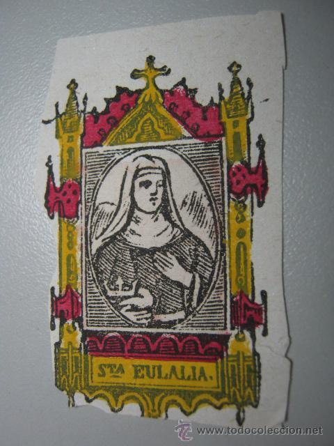 ANTIGUO GRABADO MINIATURA ILUMINADO AL TEMPERA * SANTA EULALIA * (Arte - Arte Religioso - Grabados)