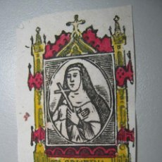 Arte: ANTIGUO GRABADO MINIATURA ILUMINADO AL TEMPERA * SANTA CRISTINA *. Lote 37397708