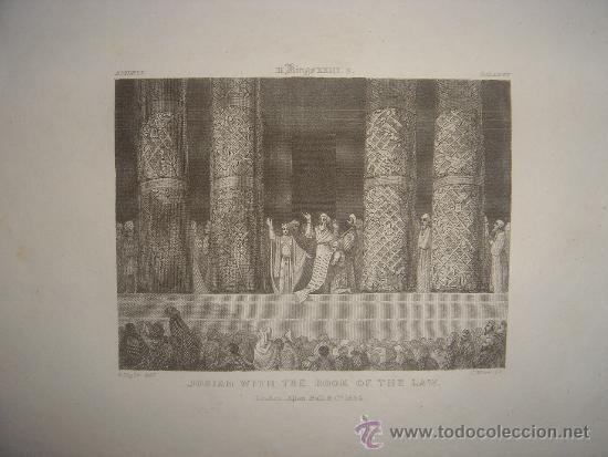 GRABADO RELIGIOSO, REY JOSÍAS, BELL, LONDRES, 1834, DATADO EN PLANCHA, (Arte - Arte Religioso - Grabados)