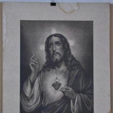 Arte: LITOGRAFÍA ANTIGÜA DEL SAGRADO CORAZON DE JESUS.. Lote 37425205