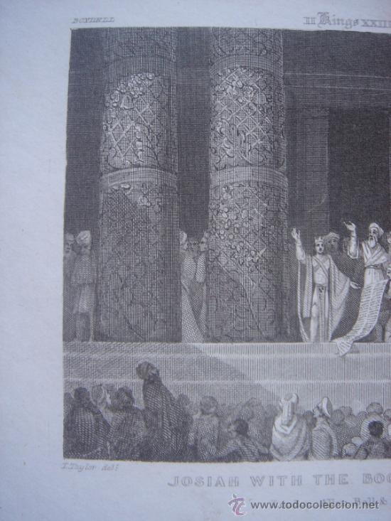 Arte: GRABADO RELIGIOSO, REY JOSÍAS, BELL, LONDRES, 1834, DATADO EN PLANCHA, - Foto 3 - 37385219