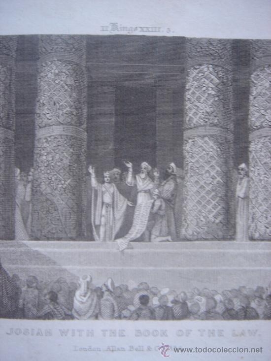 Arte: GRABADO RELIGIOSO, REY JOSÍAS, BELL, LONDRES, 1834, DATADO EN PLANCHA, - Foto 4 - 37385219
