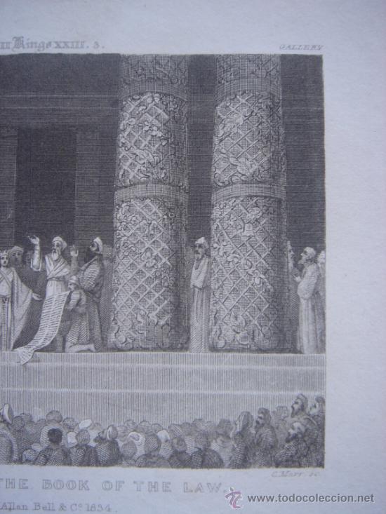 Arte: GRABADO RELIGIOSO, REY JOSÍAS, BELL, LONDRES, 1834, DATADO EN PLANCHA, - Foto 5 - 37385219