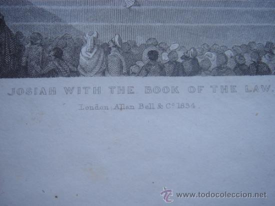 Arte: GRABADO RELIGIOSO, REY JOSÍAS, BELL, LONDRES, 1834, DATADO EN PLANCHA, - Foto 9 - 37385219