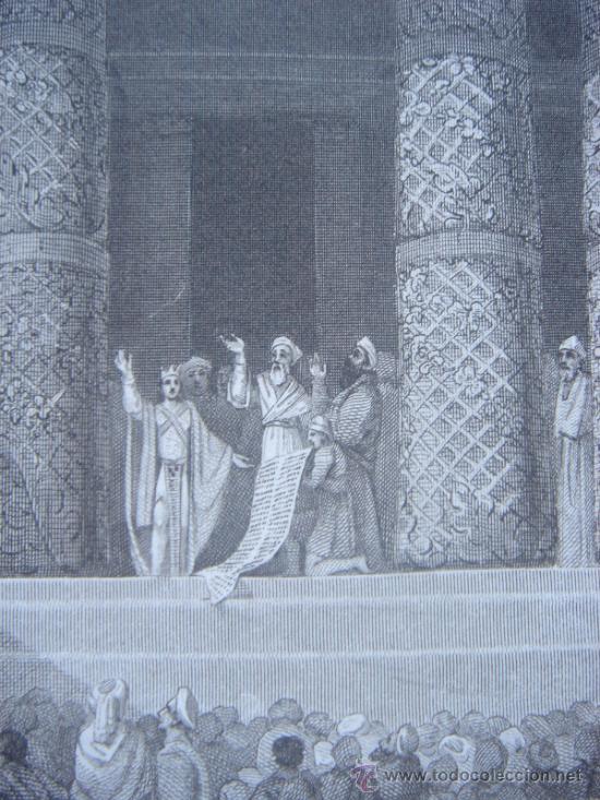 Arte: GRABADO RELIGIOSO, REY JOSÍAS, BELL, LONDRES, 1834, DATADO EN PLANCHA, - Foto 14 - 37385219