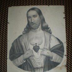Arte: CORAZON DE JESUS LITOGRAFIA S XIX. Lote 37421423
