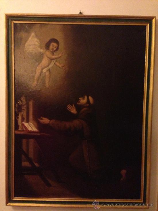 PINTURA AL OLEO SAN ANTONIO PADUA S. XVIII (Arte - Arte Religioso - Pintura Religiosa - Oleo)