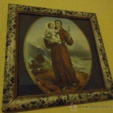 Arte: ANTIGUO GRABADO COLOREADO SAN ANTONIO CON EL NIÑO, CON MARCO DE MADERA Y CRISTAL 36 X 36 CM. Lote 37431876