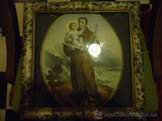 Arte: antiguo grabado coloreado san antonio con el niño, con marco de madera y cristal 36 x 36 cm - Foto 8 - 37431876
