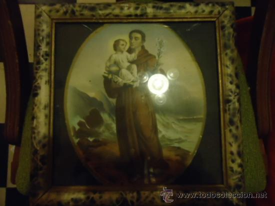 Arte: antiguo grabado coloreado san antonio con el niño, con marco de madera y cristal 36 x 36 cm - Foto 7 - 37431876