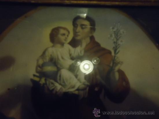 Arte: antiguo grabado coloreado san antonio con el niño, con marco de madera y cristal 36 x 36 cm - Foto 6 - 37431876