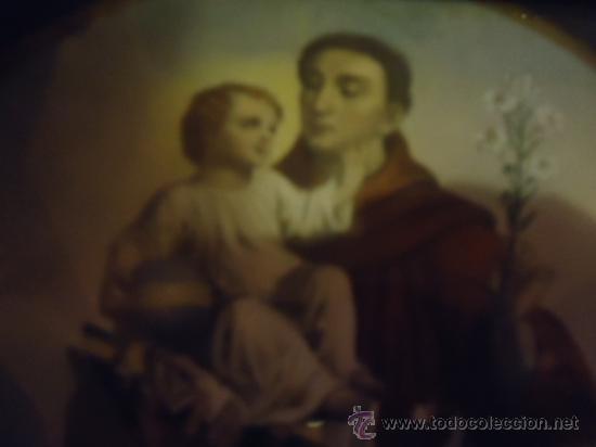 Arte: antiguo grabado coloreado san antonio con el niño, con marco de madera y cristal 36 x 36 cm - Foto 3 - 37431876