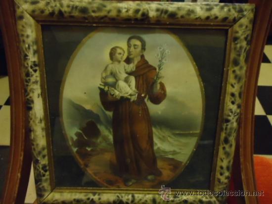 Arte: antiguo grabado coloreado san antonio con el niño, con marco de madera y cristal 36 x 36 cm - Foto 2 - 37431876