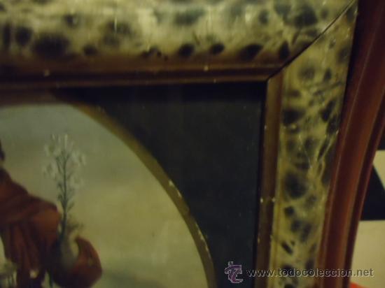 Arte: antiguo grabado coloreado san antonio con el niño, con marco de madera y cristal 36 x 36 cm - Foto 5 - 37431876