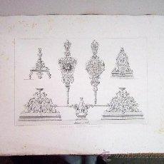 Arte: 1857 GRABADO DE GOUPIL-VIBERT Y CIA. ARQUITECTURA T ORFEBRERÍA 55,5X36. Lote 37480740