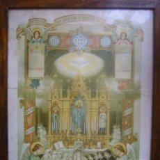 Arte: ANTIGUO LITOGRAFIA ENMARCADA 1ª COMUNION 1914 F MIRABENT RAMON SOLA ROCA BARCELONA 44X33CM. Lote 37575587