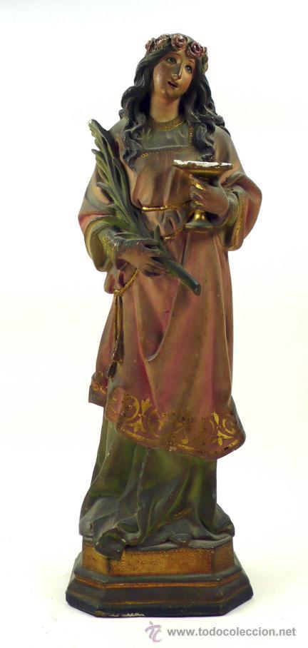 SANTA LUCÍA EN YESO, 1900'S. ALTURA: 45 CM. VER FOTOS ANEXAS (Arte - Arte Religioso - Escultura)
