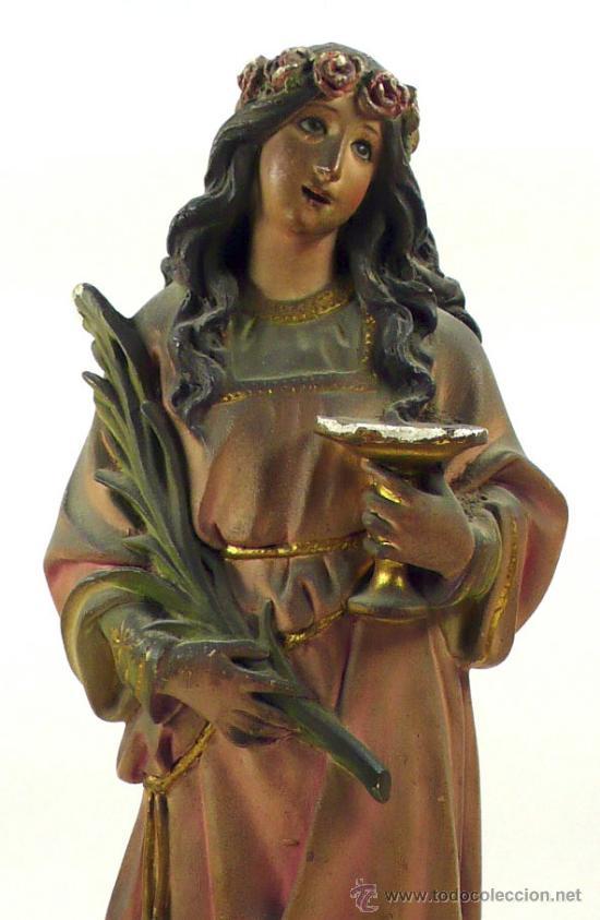 Arte: SANTA LUCÍA EN YESO, 1900's. Altura: 45 cm. Ver fotos anexas - Foto 7 - 40901410