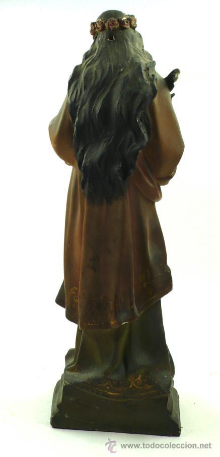 Arte: SANTA LUCÍA EN YESO, 1900's. Altura: 45 cm. Ver fotos anexas - Foto 3 - 40901410