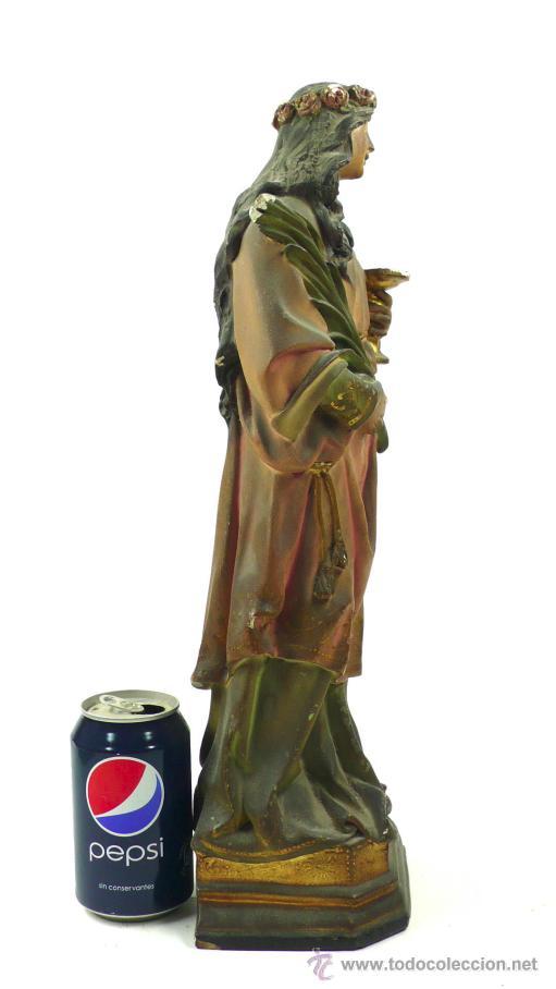 Arte: SANTA LUCÍA EN YESO, 1900's. Altura: 45 cm. Ver fotos anexas - Foto 2 - 40901410