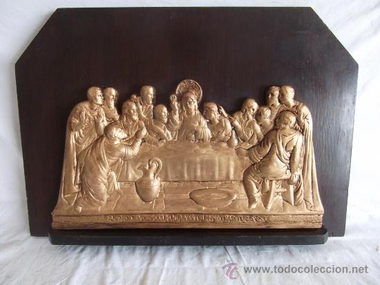 ANTIGUO CUADRO LA ULTIMA CENA DE YESO DE PRINCIPIOS DE SIGLO! (Arte - Arte Religioso - Pintura Religiosa - Otros)
