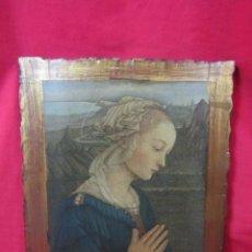 Arte: MADONNA DE BOTICELLI. LÁMINA SOBRE TABLA DE MADERA, .. Lote 37597963