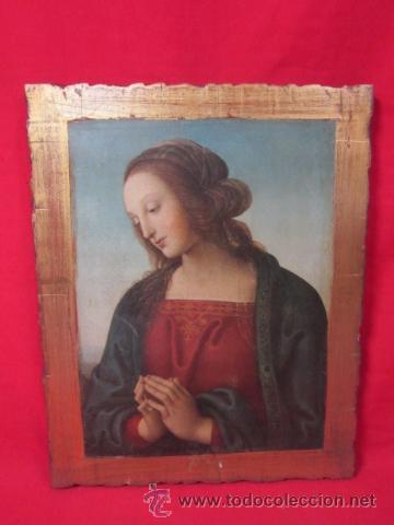 MADONNA ORANTE. LÁMINA SOBRE TABLA DE MADERA, . (Arte - Arte Religioso - Pintura Religiosa - Otros)