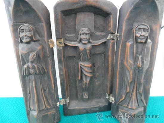 Arte: triptico de madera tallada - Foto 2 - 37653713