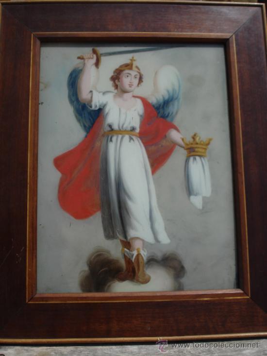 Arte: MAGNÍFICO ANGEL CUSTODIO SXIX CRISTAL POLICROMADO - Foto 3 - 38204613