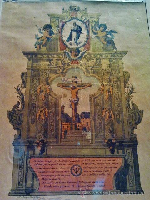 Arte: Verdadera imagen del Cristo de Leganiel, Cuenca. Litografía firmada por Rodríguez, Madrid 1898. - Foto 2 - 38214108