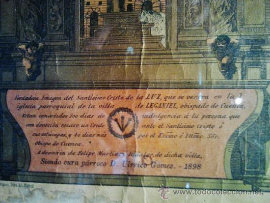 Arte: Verdadera imagen del Cristo de Leganiel, Cuenca. Litografía firmada por Rodríguez, Madrid 1898. - Foto 3 - 38214108