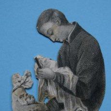Arte: SAN LUIS DE GONZAGA, DE LA COMPAÑÍA DE JESÚS, GRABADO ANTIGUO RECORTADO DEL SANTO. Lote 38408727