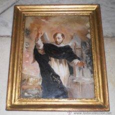 Arte: MAGNIFICA PINTURA RELIGIOSA SOBRE CRISTAL. VICENTE FERRE S.XIX, MARCO DE MADERA, ESTUCO Y PAN DE ORO. Lote 38416620