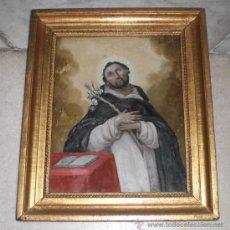 Arte: MAGNIFICA PINTURA RELIGIOSA SOBRE CRISTAL. SANTO DOMINGO S.XIX, MARCO DE MADERA, ESTUCO Y PAN DE ORO. Lote 38416676