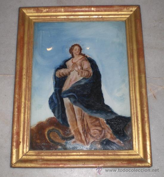 PINTURA RELIGIOSA. OLEO SOBRE CRISTAL. S.XIX. MARCO DE MADERA, ESTUCO Y PAN DE ORO (Arte - Arte Religioso - Pintura Religiosa - Oleo)
