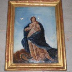 Arte: PINTURA RELIGIOSA. OLEO SOBRE CRISTAL. S.XIX. MARCO DE MADERA, ESTUCO Y PAN DE ORO. Lote 38420361