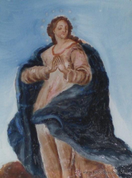 Arte: Pintura Religiosa. Oleo sobre Cristal. S.XIX. Marco de madera, estuco y pan de oro - Foto 2 - 38420361