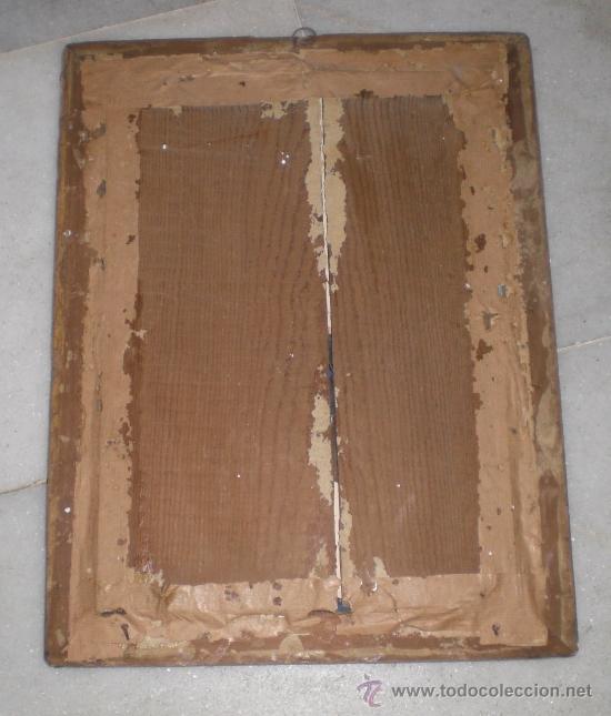 Arte: Pintura Religiosa. Oleo sobre Cristal. S.XIX. Marco de madera, estuco y pan de oro - Foto 3 - 38420361