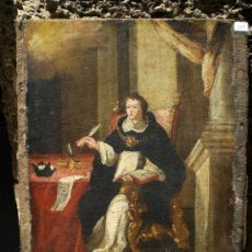 Arte: OLEO SOBRE LIENZO DE SANTO TOMAS DE AQUINO - S.XVII. FIRMADO.. Lote 38525355