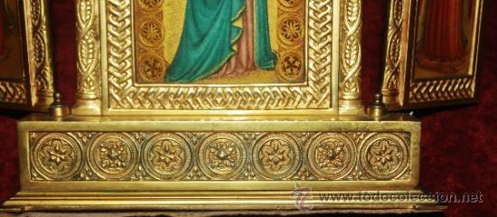 Arte: PRECIOSO TRIPTICO EN FORMA DE ALTAR NEOGOTICO EN BRONCE PARECE ESMALTADA - Foto 9 - 38646585