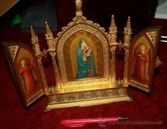 PRECIOSO TRIPTICO EN FORMA DE ALTAR NEOGOTICO EN BRONCE PARECE ESMALTADA (Arte - Arte Religioso - Pintura Religiosa - Otros)