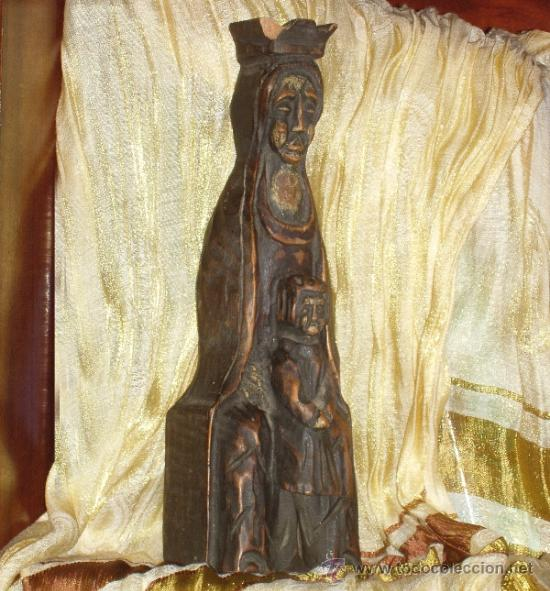 TALLA DE LA VIRGEN EN MADERA. NIÑO. ESCULTURA. TALLADA. 30 CM. (Arte - Arte Religioso - Escultura)