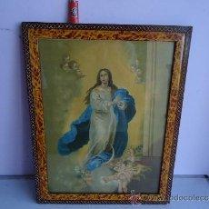 Arte: PRECIOSA Y MUY CNTIGUA LITOGRAFIA O LAMINA, CON SU CRISTAL Y EN DE INMACULADA. Lote 38944792