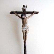 Arte: FANTÁSTICO CRISTO CRUCIFICADO TALLA EN MADERA FINALES SXVIII. Lote 39323446