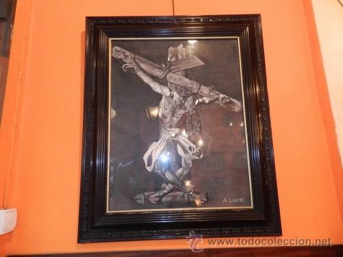 CUADRO DE CRISTO CRUCIFICADO / PINTOR A. LACAL (Arte - Arte Religioso - Pintura Religiosa - Otros)